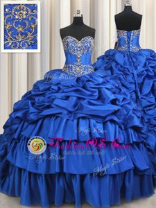 Taffeta Sleeveless With Train 15th Birthday Dress Brush Train and Beading and Ruffled Layers and Pick Ups