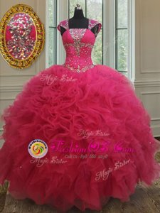 Best Selling Square Hot Pink Tulle Lace Up 15 Quinceanera Dress Cap Sleeves Floor Length Beading and Ruffles