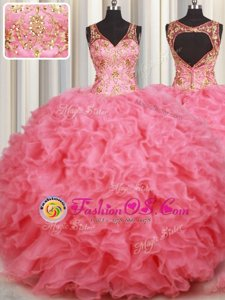 Adorable Pink Organza Backless Quince Ball Gowns Sleeveless Floor Length Beading and Ruffles