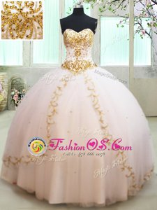 Sleeveless Beading and Appliques Lace Up Ball Gown Prom Dress