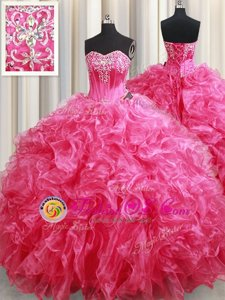 Stunning Hot Pink Sweetheart Lace Up Beading and Ruffles Quinceanera Dresses Brush Train Sleeveless