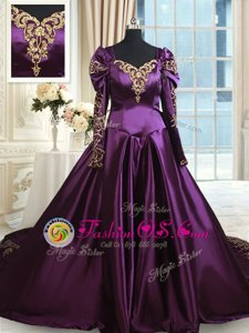 Dramatic Taffeta Off The Shoulder Long Sleeves Chapel Train Zipper Beading and Embroidery Quinceanera Dress in Dark Purple