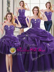 Four Piece Purple Ball Gowns Organza Sweetheart Sleeveless Beading and Appliques and Pick Ups Floor Length Lace Up Ball Gown Prom Dress