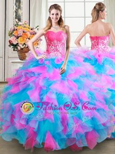Top Selling Sweetheart Sleeveless Organza Vestidos de Quinceanera Beading and Ruffles Lace Up
