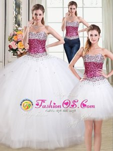 Admirable Three Piece Sweetheart Sleeveless Tulle Sweet 16 Quinceanera Dress Beading Lace Up