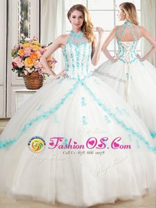 Popular Halter Top Floor Length White 15 Quinceanera Dress Tulle Sleeveless Beading and Appliques