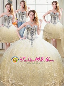 Four Piece Champagne Tulle and Lace Lace Up Vestidos de Quinceanera Sleeveless Floor Length Beading and Lace
