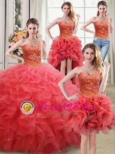 Four Piece Coral Red Sleeveless Beading and Ruffles Floor Length Quinceanera Gown