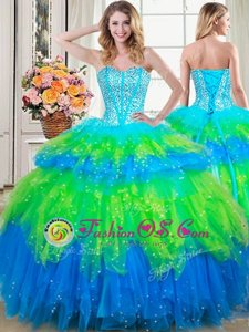Cheap Four Piece Tulle Sleeveless Floor Length Quinceanera Gown and Beading