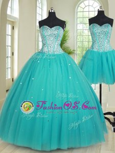 Exquisite Four Piece Sleeveless Floor Length Beading Lace Up Quinceanera Dresses with Purple