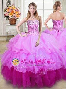 Sweetheart Sleeveless Sweet 16 Dresses Floor Length Ruffles and Sequins Multi-color Organza