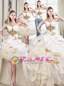 Sweet Four Piece White Sweet 16 Dresses Military Ball and Sweet 16 and Quinceanera and For with Beading and Ruffles Sweetheart Sleeveless Lace Up