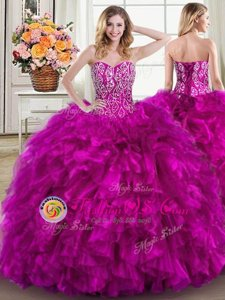Classical Four Piece Sweetheart Sleeveless Lace Up Quinceanera Gowns Fuchsia Organza