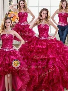 Free and Easy Four Piece Strapless Sleeveless Sweet 16 Dresses Floor Length Beading and Ruffles Fuchsia Organza