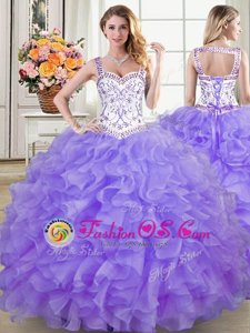 Straps Floor Length Lace Up Sweet 16 Dress Lavender and In for Military Ball and Sweet 16 and Quinceanera with Beading and Lace and Ruffles