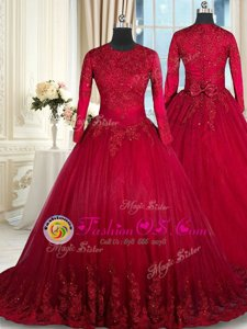 Scoop Clasp Handle Floor Length Wine Red Ball Gown Prom Dress Tulle Long Sleeves Beading and Lace and Bowknot