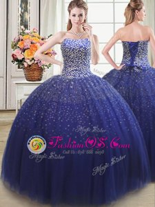 Sexy Floor Length Ball Gowns Sleeveless Royal Blue Sweet 16 Dress Lace Up