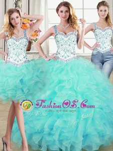 On Sale Four Piece White and Red Lace Up Quinceanera Gown Beading and Ruffles Sleeveless Floor Length