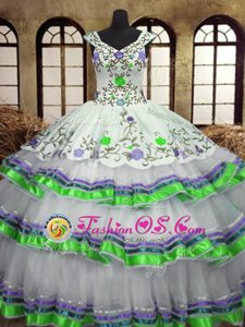 Sexy Straps Sleeveless Embroidery and Ruffled Layers Lace Up Vestidos de Quinceanera