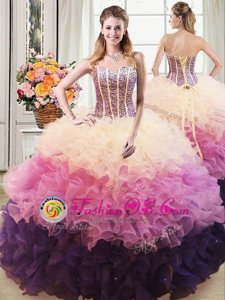 Colorful Multi-color Ball Gowns Organza Sweetheart Sleeveless Beading and Ruffles Floor Length Lace Up 15th Birthday Dress
