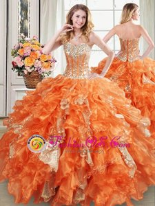 Fashion Sequins Sweetheart Sleeveless Lace Up Quince Ball Gowns Turquoise Organza