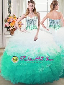 Beautiful Multi-color Sleeveless Organza Lace Up Quinceanera Dress for Military Ball and Sweet 16 and Quinceanera