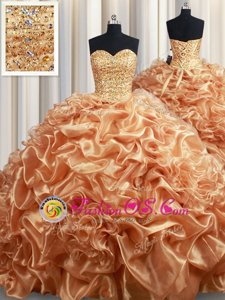Pick Ups Sweetheart Sleeveless Court Train Lace Up Quinceanera Gowns Champagne Organza