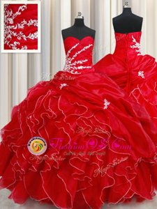 Exquisite Red Ball Gowns Beading and Ruffles and Pick Ups 15 Quinceanera Dress Lace Up Organza Sleeveless Floor Length