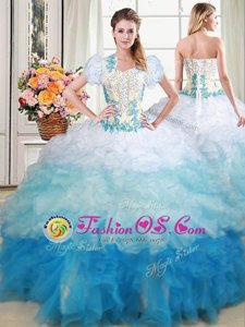 Suitable Four Piece Hot Pink Sweet 16 Quinceanera Dress Military Ball and Sweet 16 and Quinceanera and For with Beading and Ruffles Straps Sleeveless Lace Up
