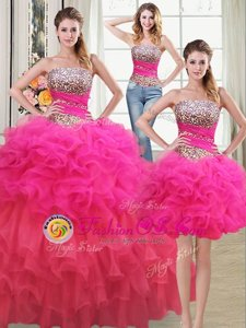 Pretty Three Piece Sleeveless Lace Up Floor Length Beading and Ruffles and Ruffled Layers and Sequins Ball Gown Prom Dress