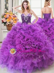 Shining Eggplant Purple Ball Gowns Organza Sweetheart Sleeveless Beading and Ruffles Floor Length Lace Up 15 Quinceanera Dress