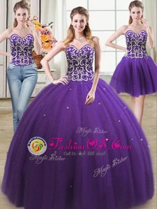 Elegant Three Piece Sweetheart Sleeveless Lace Up Vestidos de Quinceanera Purple Tulle