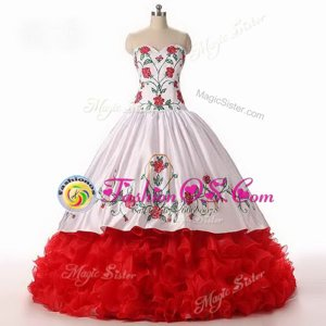 White and Red Lace Up Ball Gown Prom Dress Embroidery and Ruffled Layers Sleeveless Floor Length