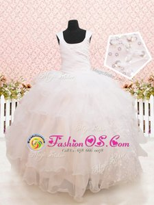 Scoop Sleeveless Lace Up Floor Length Beading and Ruffled Layers and Sequins Toddler Flower Girl Dress