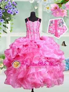 Beautiful Straps Rose Pink Sleeveless Beading and Ruffles and Pick Ups Floor Length Little Girls Pageant Dress