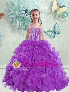 Amazing Eggplant Purple Straps Neckline Beading and Ruffles Little Girls Pageant Dress Sleeveless Lace Up