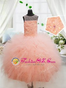 Scoop Peach Sleeveless Floor Length Beading and Lace and Ruffles Zipper Kids Formal Wear