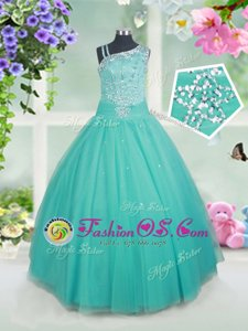 Free and Easy Turquoise Tulle Zipper Asymmetric Sleeveless Floor Length Kids Pageant Dress Beading