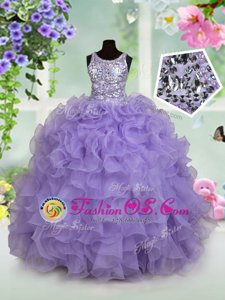Scoop Sleeveless Organza Floor Length Zipper Girls Pageant Dresses in Lavender for with Beading and Ruffles