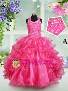 Fine Hot Pink Organza Lace Up Halter Top Sleeveless Floor Length Little Girl Pageant Dress Beading and Ruffled Layers