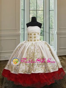 Superior White and Red Organza and Taffeta Lace Up Little Girls Pageant Dress Wholesale Sleeveless Floor Length Ruffled Layers