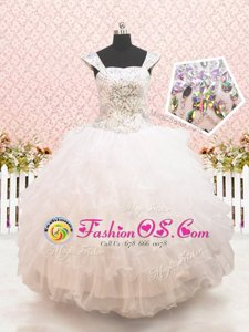 Inexpensive White Flower Girl Dresses Quinceanera and Wedding Party and For with Beading and Ruffled Layers Straps Cap Sleeves Lace Up