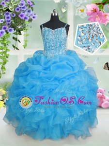 Pick Ups Spaghetti Straps Sleeveless Lace Up Child Pageant Dress Baby Blue Organza