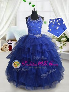 Beautiful Royal Blue Halter Top Lace Up Beading and Ruffled Layers Little Girl Pageant Gowns Sleeveless