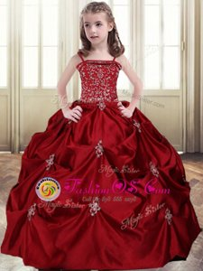 Custom Fit Wine Red Ball Gowns Spaghetti Straps Sleeveless Taffeta Floor Length Lace Up Beading and Pick Ups Kids Formal Wear