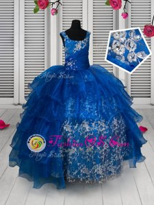 Scoop Royal Blue Lace Up Little Girls Pageant Dress Beading and Lace and Ruffled Layers Sleeveless Floor Length