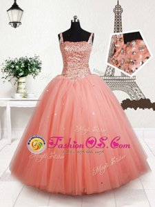 Fabulous Straps Beading Little Girls Pageant Gowns Peach Lace Up Sleeveless Floor Length