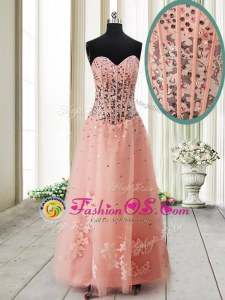 Peach Sleeveless Beading Ankle Length Prom Dress