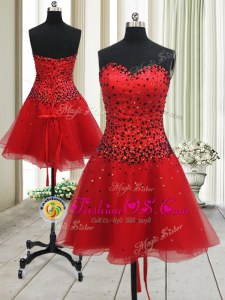 Mini Length A-line Sleeveless Red Prom Party Dress Lace Up