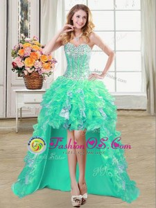 High Low Turquoise Homecoming Dress Organza Sleeveless Ruffles and Sequins